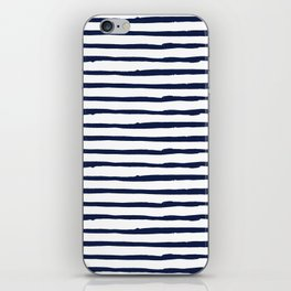 Navy Blue Stripes on White iPhone Skin
