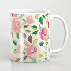 Pastel Roses in Blush Pink and Cream  Coffee Mug