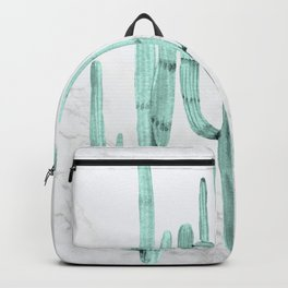 Cactus Trio on Marble Turquoise by Nature Magick Backpack