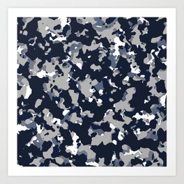 Blue Grey Camouflage Art Print