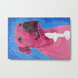 Pink Pitbull Metal Print