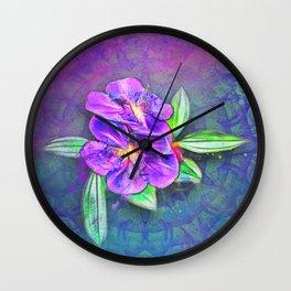 Abstract Lasiandra on textured kaleidoscope Wall Clock