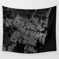 sydney Wall Tapestries featuring Sydney map Australia by Line Line Lines