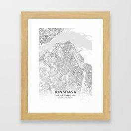 Kinshasa, D.R. Congo - Light Map Framed Art Print