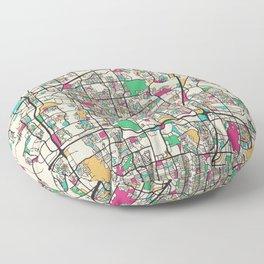 Colorful City Maps: Plano, Texas Floor Pillow