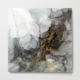 Black Gold Marble Storm Metal Print