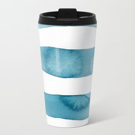 Aqua Stripes Abstract Modern Art Travel Mug