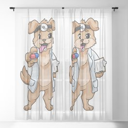 Dog as doctor with pills and notepad Sheer Curtain