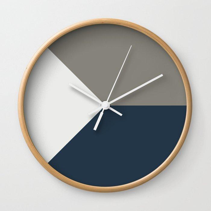 Blue Grey White Abstract Geometric Art Wall Clock