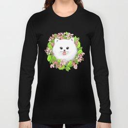Pomeranian in flowers Long Sleeve T-shirt