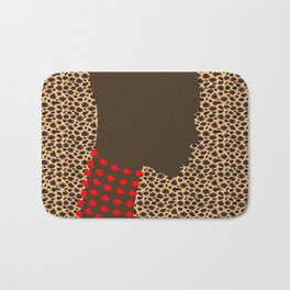 bald lady model with red necklace Bath Mat