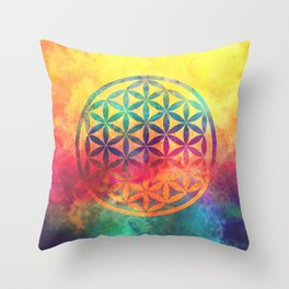 Rainbow Flower Of Life Throw Pillow