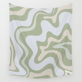 Liquid Swirl Contemporary Abstract Pattern in Light Sage Green Wall Tapestry