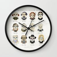 roald dahl Wall Clocks featuring Greater-Spotted British Authors by Scott Tyrrell