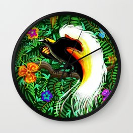 Paradise Bird Fire Feathers Wall Clock