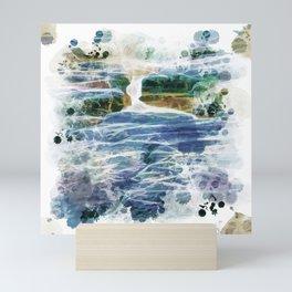 Abstract rock pool in the rough rocks Mini Art Print