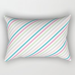 Pink and green stripes Rectangular Pillow