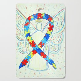 Autism Puzzle Piece Awareness Ribbon Angel Art Painting Cutting Board
