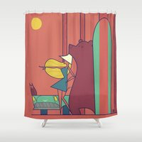 surf Shower Curtains featuring SURF by Ale Giorgini