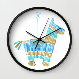 Mexican Donkey Piñata – Blue & Gold Palette Wall Clock