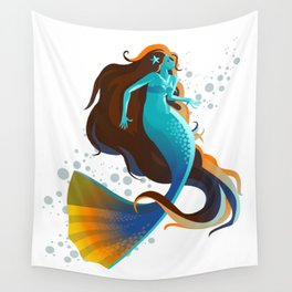 colorful mermaid swimming Wall Tapestry