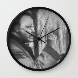 Theodore Roosevelt making a speech, 1902 - Drawing, Black and White Wall Clock