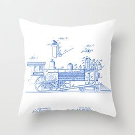 Smoke Consuming Locomotive Vintage Patent Hand Drawing Throw Pillow