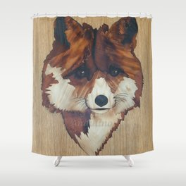 Fox marquetry art picture Shower Curtain