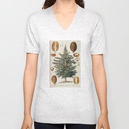 Vintage Cedar Tree illustration Unisex V-Neck