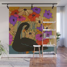 Swan Swimming Through Flowers Wall Mural