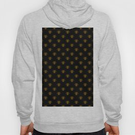 Foil Bees on Black Gold Metallic Faux Foil Photo-Effect Bees Hoody