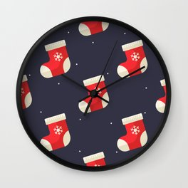 Red Christmas Stocking Pattern Wall Clock