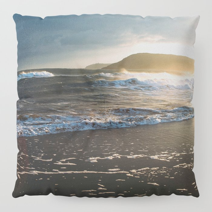 Misty Ocean #sunset Floor Pillow