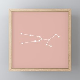 Taurus Zodiac Constellation - Pink Rose Framed Mini Art Print