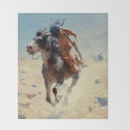 "William Leigh Western Art ""Indian Rider"" Throw Blanket"