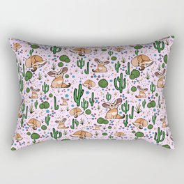 Fennec Foxes in Pink Rectangular Pillow