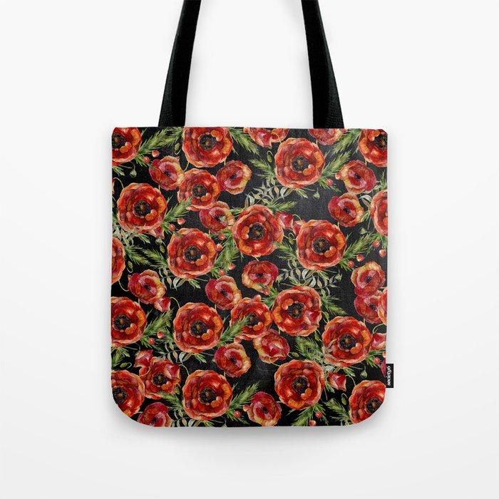 Poppy Pattern On Chalkboard Tote Bag
