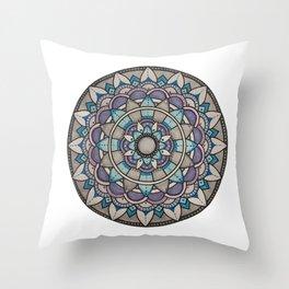 Cool tone mandala Throw Pillow