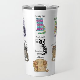 Science cats. History of great discoveries. Schrödinger cat, Tesla, Einstein. Physics, chemistry etc Travel Mug