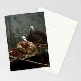 Two young princes arrive at the gate of a monastery as painted by Edmund Blair Leighton. Stationery Cards