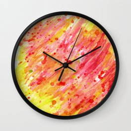 Abstract watercolor red and yellow Wall Clock