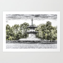 The Pagoda in the snow Art Print