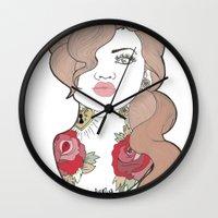 tattoos Wall Clocks featuring Tattoos by Lilyana Reyes
