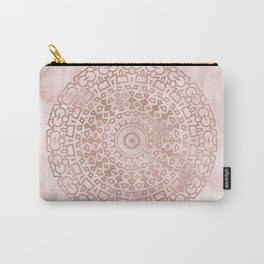Misty pink marble rose gold mandala Carry-All Pouch