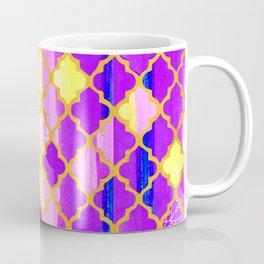 Moroccan Tile Pattern In Purple And Yellow Coffee Mug