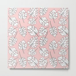 Monstera - Lines - Rose Quartz Metal Print