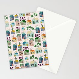 Tiny Cottages with plants Stationery Cards