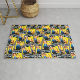 Rosie the Riveter- Scattered Chevron Mix - Seamless Pattern Rug