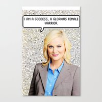 leslie knope Canvas Prints featuring Leslie Knope by Hannah