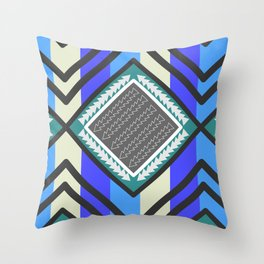 Arrows and waves in blue Throw Pillow